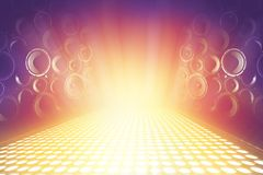 Many audio sound speakers on lighting music stage. Abstract sparkling background royalty free stock photography