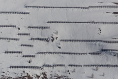 Many avalanche barriers in the mountains in winter stock images