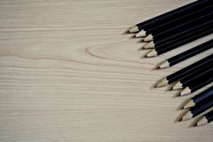 2B Black Pencils on wooden table royalty free stock photography