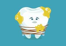 Many bacteria make tooth sad stock illustration