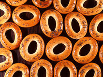 Many bagels. With poppy seeds on a table Royalty Free Stock Image