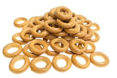 Many bagels on white background Stock Photos