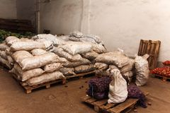 Food warehouse in the army. Many bags of food lie in the warehouse in the army Royalty Free Stock Photo