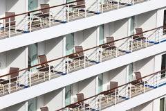 Many balconies with chairs table on ship Stock Photos