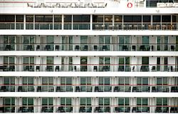 Many balconies with furniture on a cruise ship Stock Photography
