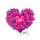 Many balloons in the shape of a heart. Balls in the sky. Vector illustration.  Royalty Free Stock Photography
