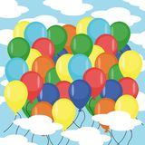 Many balloons in sky Stock Images