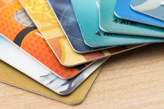 Many bank cards. Close up many bank cards Stock Photo