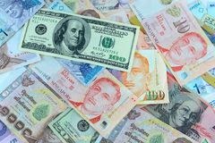 Many bank notes Royalty Free Stock Photos