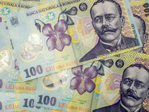 Free Many Banknotes Of One Hundred Romanian Currency Leu Ron Concept Stock Photos - 63276013