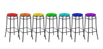 Many bar chairs in colors of rainbow, collage Royalty Free Stock Photo