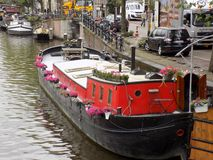 Houseboat in Amsterdam stock photos