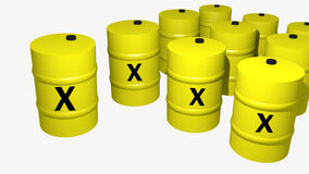 Many barrels 3d. A collection of 10 3d barrels Royalty Free Stock Photography