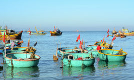Many basket boats at Mui Ne pier in Binh Thuan, Vietnam Stock Images