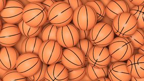 Many basketball balls. In pile background Royalty Free Stock Photo