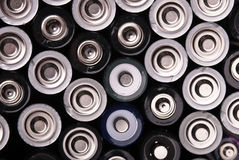 Many batteries from above. Many batteries are shown from above Stock Photo