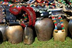 Many bavarian cowbells Stock Photo
