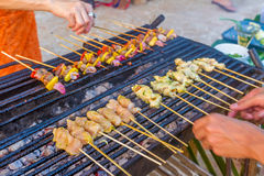 Many bbq sticks on grill, outdoor, bbq time Royalty Free Stock Image