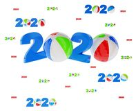 Many Beach Ball 2020 Designs with lots of Balls. On a White Background royalty free illustration