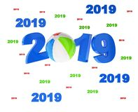 Many Beach Ball 2019 Designs. With a White Background royalty free illustration