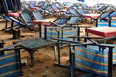 Many beach camp beds on beaches. Stock Images