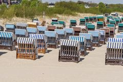 Many beach chairs on a sunny day at the Baltic Sea Royalty Free Stock Photos