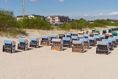 Many beach chairs on a sunny day at the Baltic Sea Royalty Free Stock Photography