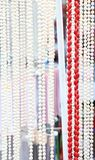 Many beads of pearls and corals. Close-up. Royalty Free Stock Photos