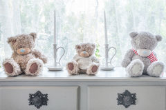 Many bear doll and candle on table and windowsill background Royalty Free Stock Photo
