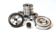 Many bearings of different sizes together. White background Stock Photo