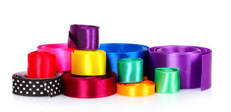Many beautiful bright satin ribbons Royalty Free Stock Photo