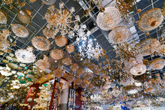 Many beautiful chandeliers light  store Royalty Free Stock Image