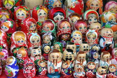 Many beautiful colored dolls. Close-up Stock Images