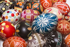 Many beautiful Easter eggs on background Royalty Free Stock Photo
