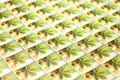 Many beautiful modern postage stamps close Royalty Free Stock Images