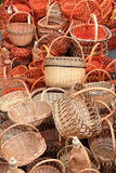Many beautiful wooden wicker baskets Stock Photos
