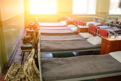 many beds in the military barracks of ukraine Royalty Free Stock Photos