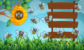 Many bees flying in garden with signs. Illustration Royalty Free Stock Photo