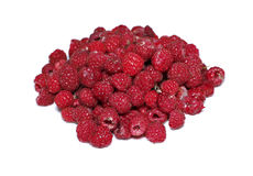 Many berries of bright red raspberry isolated Stock Images