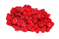 Many berries of bright red raspberry isolated Stock Photography