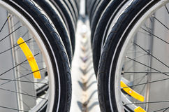 Many bicycle tires Royalty Free Stock Photos