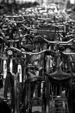 Many bicycles in Amsterdam. Vertical black and white picture of a bicycle parking lot in Amsterdam, Netherlands Stock Image