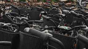 Bicycles close up. Many bicycles parked on the street stock video footage