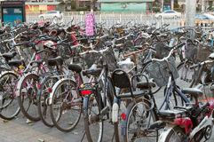 Many bicycles in a parking in Beijing Royalty Free Stock Images