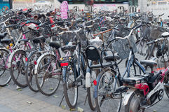 Many bicycles in a parking in Beijing Stock Photo