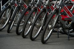 Bicycles in the parking. Royalty Free Stock Image