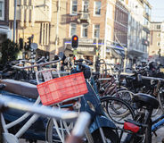 Many bicycles on street of Amsterdam city, parking ideal traffic eco healthy lifestyle concept close up at sunlight Stock Photos
