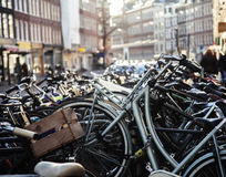 Many bicycles on street of Amsterdam city, parking ideal traffic Stock Image