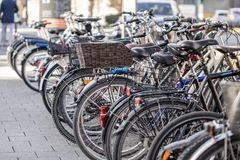 Many Bicycles on the street royalty free stock photos