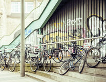 Many bicycles on street of Hamburg city, parking ideal traffic eco healthy lifestyle concept close up at sunlight Stock Photo